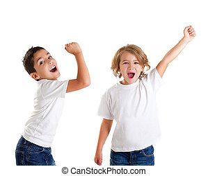 niños, expresión, ganador, excitado, blanco, estridente, niños, gesto, feliz