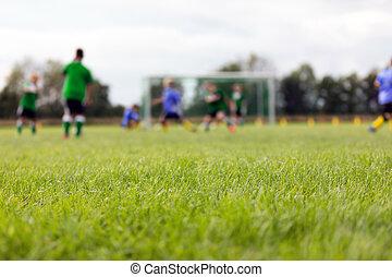 niños, fósforo del fútbol, field., jugar al balompié, confuso, niños, dos, torneo, equipos, plano de fondo, game.