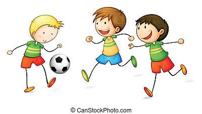 niños, fútbol, juego