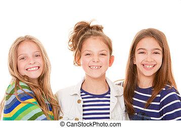 niños, feliz, sonrisas