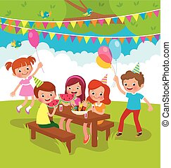 niños, fiesta de cumpleaños, aire libre