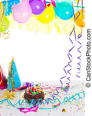 niños, fiesta de cumpleaños, con, torta de chocolate