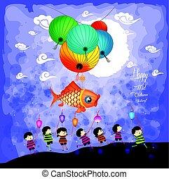 niños, fiesta, medio, otoño, linternas, plano de fondo, juego