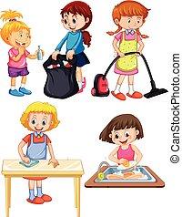niños, fondo blanco, quehacer doméstico