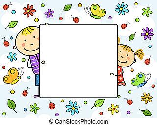 niños, frame.