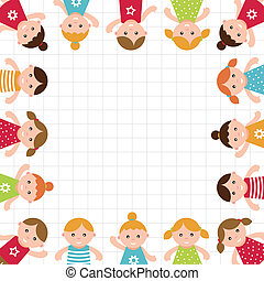 niños, frame., vector, illustration.