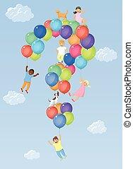 niños, globos