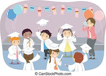 niños, graduación