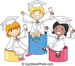 niños, graduación, nivel