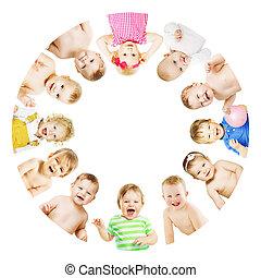 niños, grupo, encima, niños, bebes, blanco, círculo, redondo