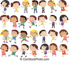 niños, grupo, feliz