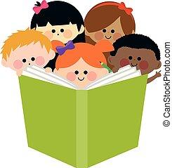 niños, grupo, ilustración, vector, book., lectura