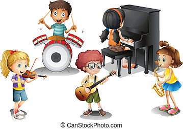 niños, grupo, talentoso