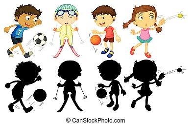 niños, hacer, diferente, deportes