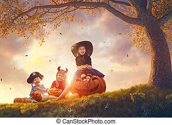 niños, halloween