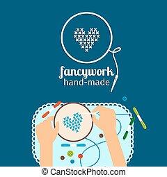 niños, hechaa mano, illustration., fancywork
