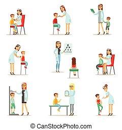 niños, hembra, examen médico, pediatra, chequeo, doctors, ...