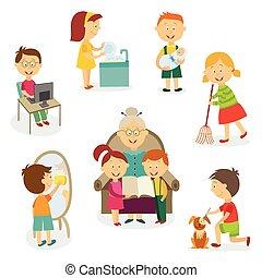 niños, hogar, tareas, actividades, niños