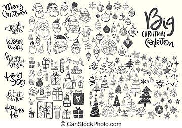 niños, iconos, garabato, mano, asombroso, collection., chris, dibujado, sketches.