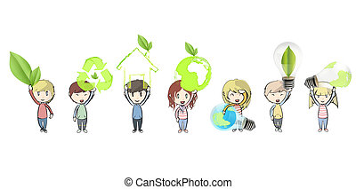 niños, icons., ecológico, vector, tenencia, design.