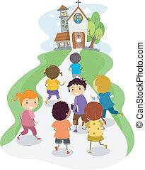 niños, iglesia