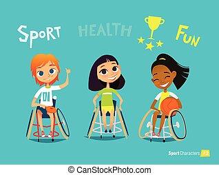 niños, illustration., médico, character., joven, discapacitada / discapacitado, sportsmen's., entrenamiento, vector, handisport., rehabilitation.