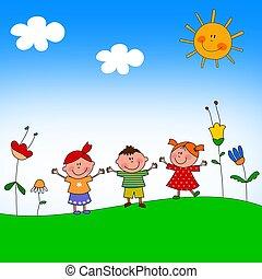 niños, ilustración