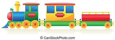 niños, ilustración, vector, tren