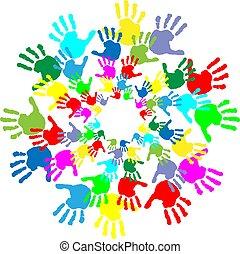 niños, impresiones, colorido, mano