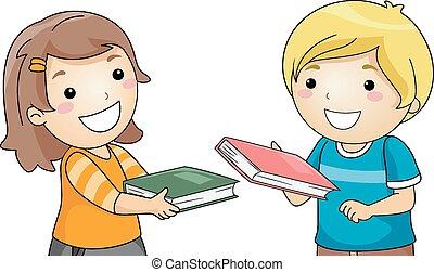 niños, intercambio, libros