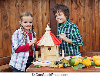 niños, invierno, casa, -, preparando, pintura, pájaro