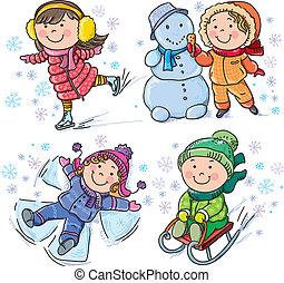 niños, invierno