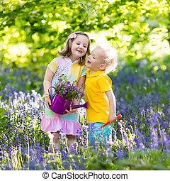 niños, jardín, bluebell, florecer, flores, juego