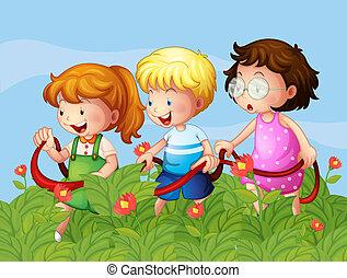 niños, jardín