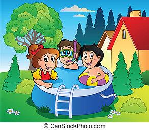 niños, jardín, piscina, caricatura