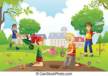 niños, jardinería