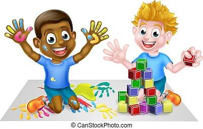 niños, juego, caricatura, juguetes