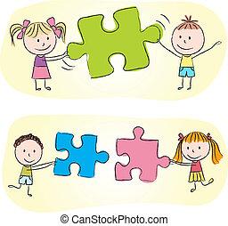 niños, juego, con, rompecabezas