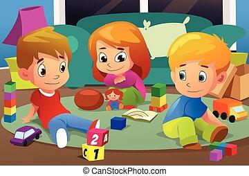 niños, juego, con, su, juguetes