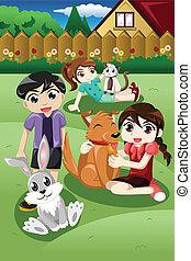 niños, juego, con, su, mascotas