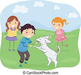 niños, juego, con, su, perro