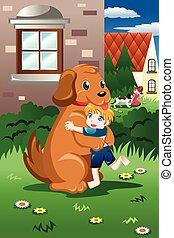 niños, juego, con, su, perros