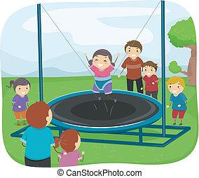 niños, juego, con, un, trampolín