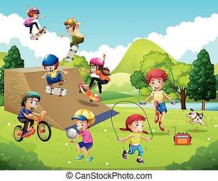 niños, juego, diferente, deportes, en el estacionamiento