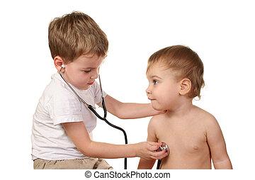 niños, juego, doctor