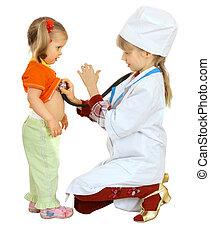 niños, juego, doctor, y, nurse.