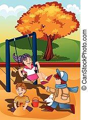 niños, juego, en, el, patio de recreo