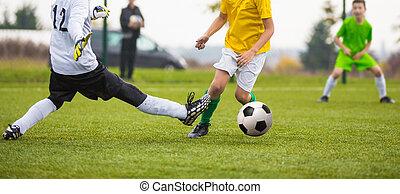 niños, juego, fútbol, juego, igual