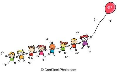 niños, juego, globo