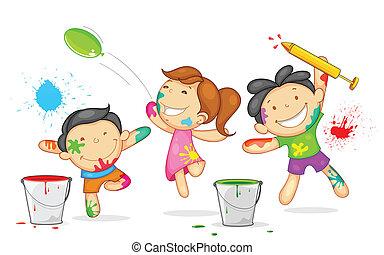 niños, juego, holi